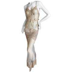 Christian Dior by John Galliano Sexy Sheer Nude Dress with Piano Finge Hem