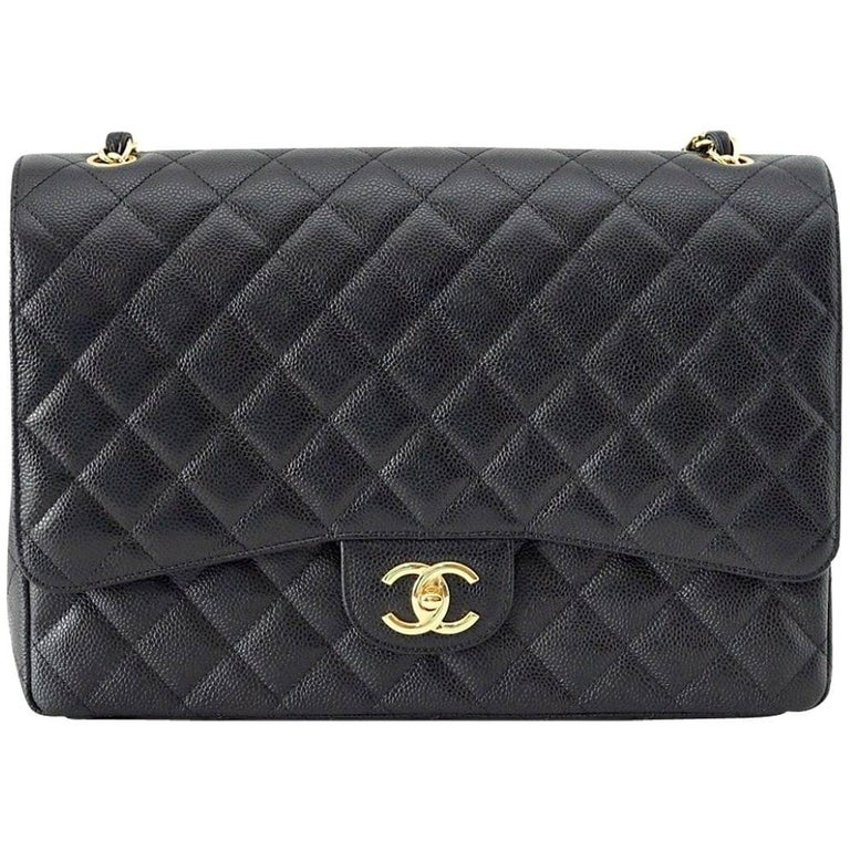 Chanel Bag Maxi Black Caviar Leather Gold Hardware For