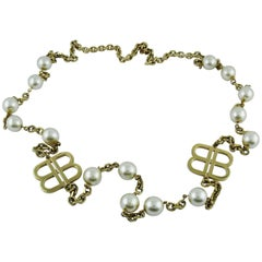 Balenciaga Vintage Pearl and Monogram Sautoir Necklace
