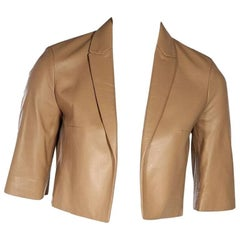 Tan Michael Kors Collection Cropped Leather Jacket