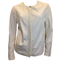 Vince White Leather Zip Up Jacket