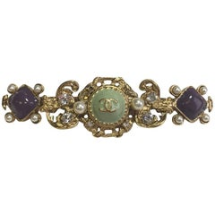 CHANEL Hair Clip in Gilded Metal and Molten Glass