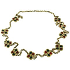 Balenciaga Vintage Enamel Monogram Sautoir Necklace