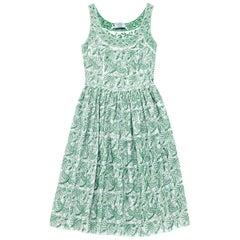 Prada White & Green Embroidered Cotton Sleeveless Dress sz S