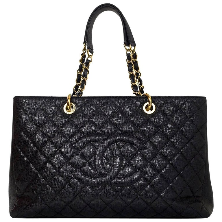 019857d099c5f3 Chanel Black Caviar Leather XL GST Grand Shopping Tote Bag GHW For Sale