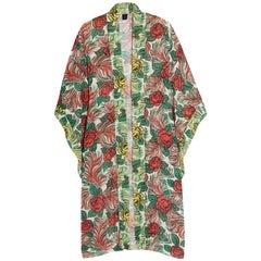 Anna Sui Floral Print Silk Kimono sz S/M