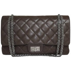 CHANEL Double Flap 2.55 Bag in Quilted Brown Leather