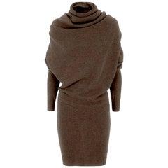 Lanvin Brown Cashmere Draped Over Shoulder Sweater Dress sz XL rt. $1,670