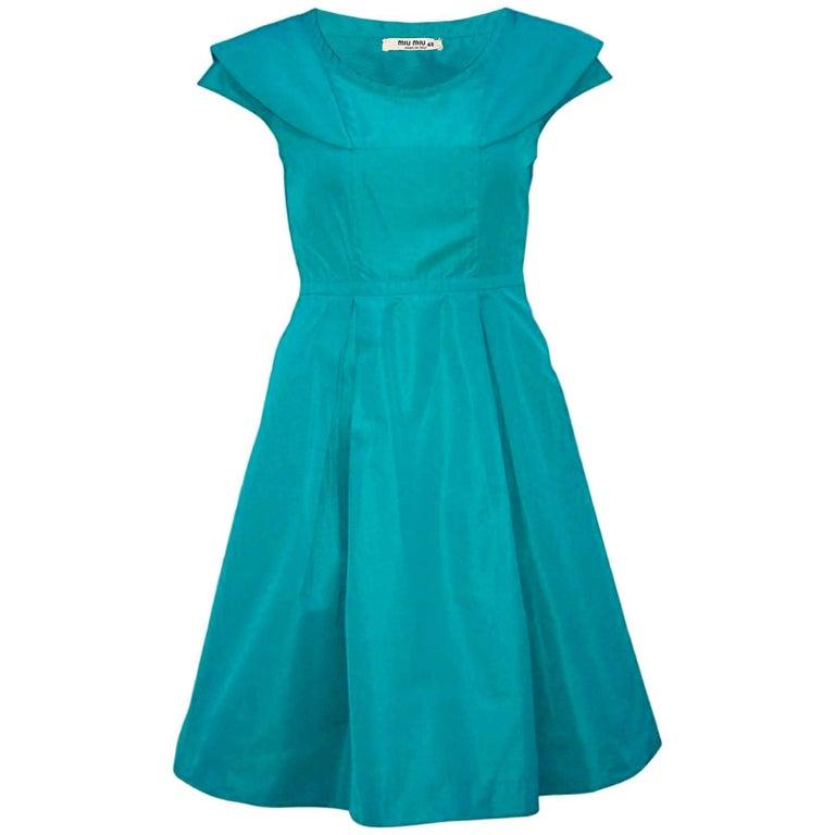 Miu Miu Turquoise Taffeta Pleated Dress sz IT40