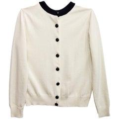 Louis Vuitton Black & Cream Wool Cardigan sz XS