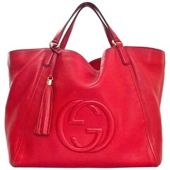 Gucci Red Leather Large Soho Tote Bag