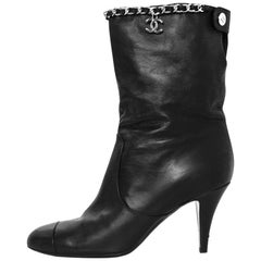 Chanel Black Leather Chain Around Short Boots sz 37.5