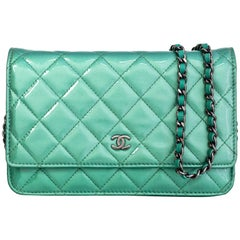 Chanel Seafoam Green Patent Leather WOC Wallet on a Chain Crossbody Bag
