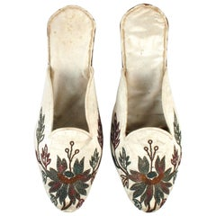 Handmade Indian Silk Floral Embroidered Flat-Heeled Mules