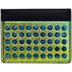Christian Louboutin Blue-Green Iridescent Studded Card Case
