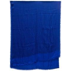 Louis Vuitton Blue & Black Floral Printed Cashmere Scarf