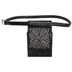 Versace Vintage '90s Black Leather Studded Belt Bag sz 85