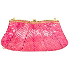 Judith Leiber Pink Python Evening Clutch Bag w/ Strap