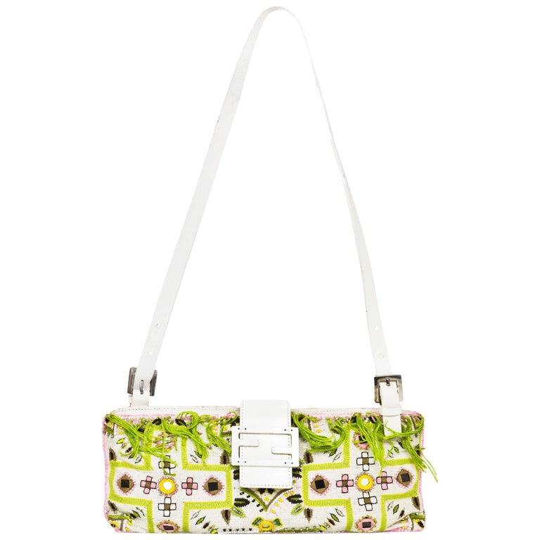 Fendi White & Green Beaded Baguette Bag