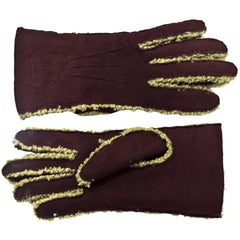 Chanel Brown & Green Shearling Gloves w/ CC sz 7.5