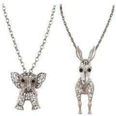 JULIANA D&E c.1970s 2 Pc Silver Donkey & Elephant Pendant Statement Necklace Set