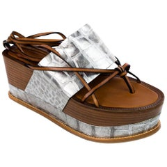 Roberto Cavalli Womens Silver Croc. Embossed Platforms