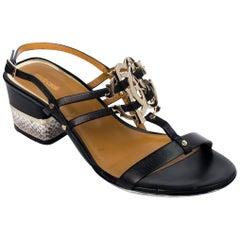 Roberto Cavalli Womens Black Leather Logo Mid Heel Sandals