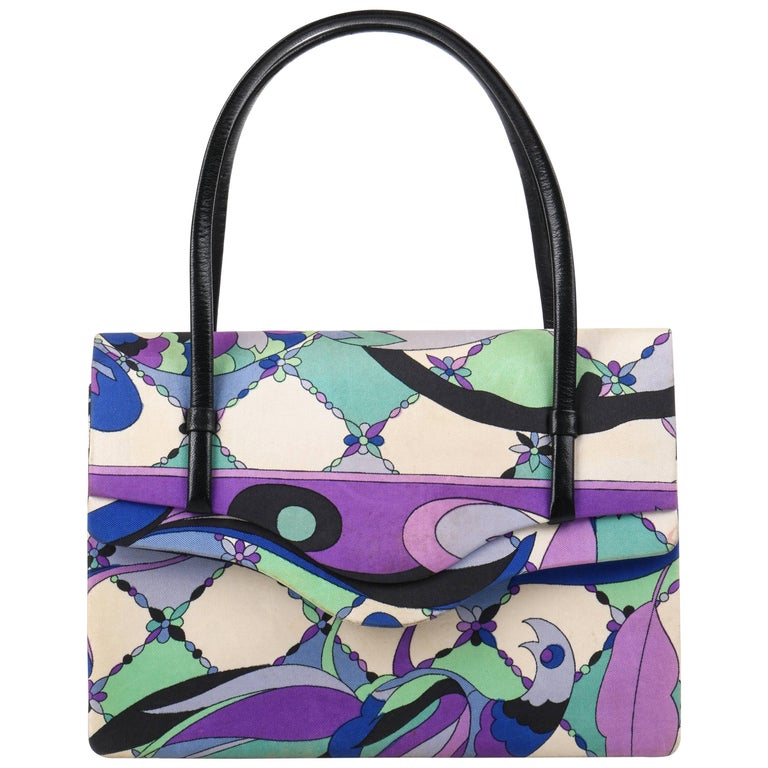 EMILIO PUCCI c.1960's Blue Multicolor Signature Botanical Print Silk Handbag