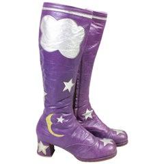 1970's Handmade Purple Leather Platform Boots