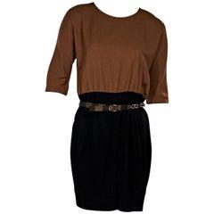 Black & Brown Fendi Belted Dress