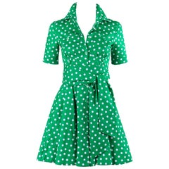MIU MIU PRADA Resort 2011 Green & White Polkadot Cotton Shirt Waist Dress + Belt
