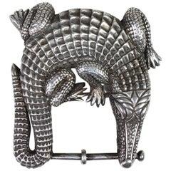 Barry Kieselstein-Cord Sterling Silver Alligator Belt Buckle