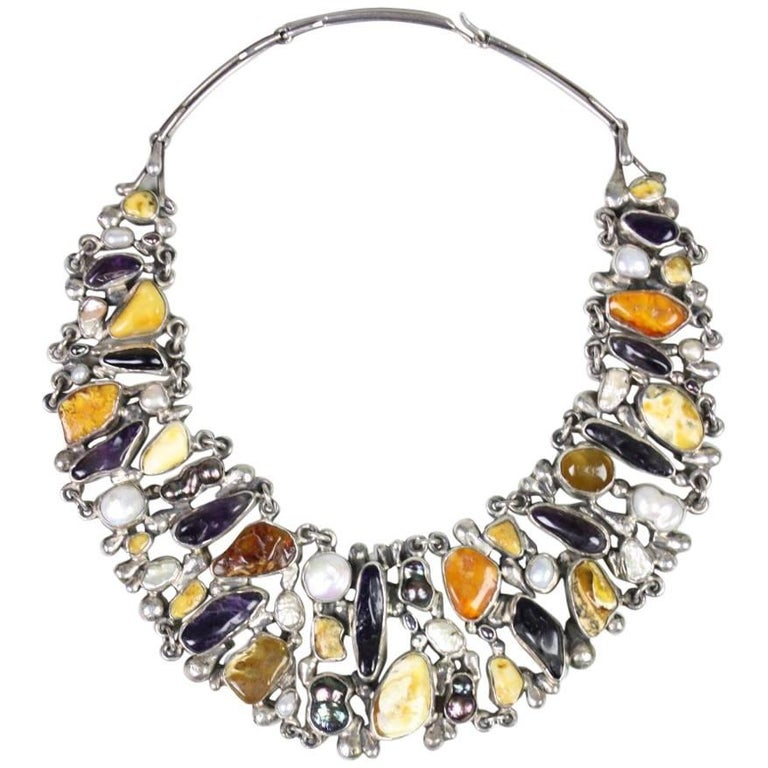 Jan Pomianowski Amber & Amethyst Sterling Silver Bib Necklace 1
