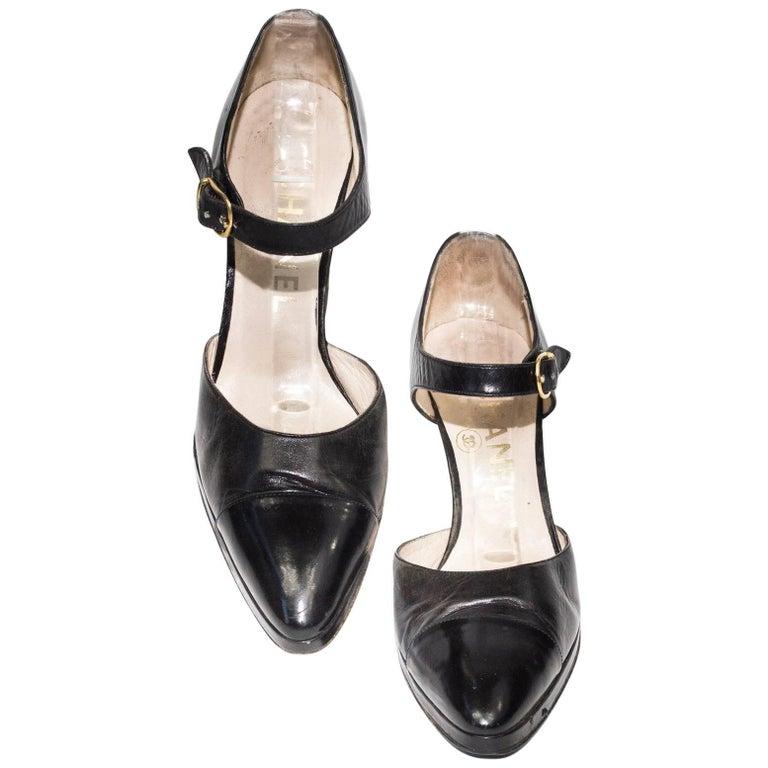 Chanel Black Cap Toe Heels