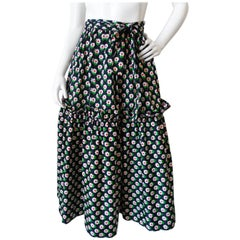 1970s Saint Laurent Ditsy Floral Ruffle Skirt