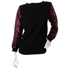 1970s Saint Laurent Sequin Sleeve Sweater