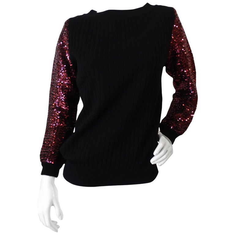 1970s Saint Laurent Sequin Sleeve Sweater For Sale