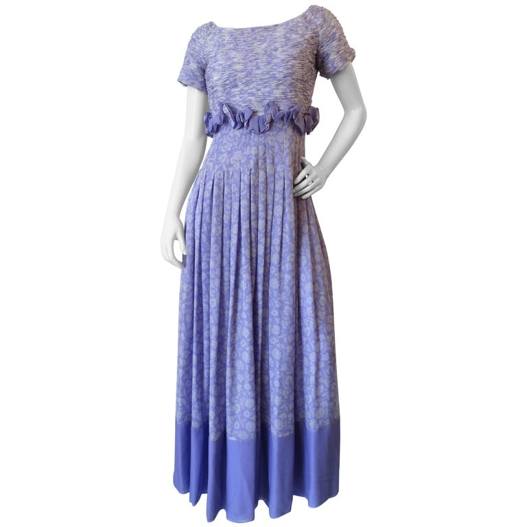 1970s Valentino Lilac Pintuck Gown For Sale