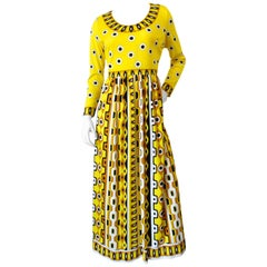 1960s Mr. Dino Yellow Mod Printed Maxi Dress