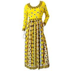1960s Mr. Dino Yellow Mod Printed Maxi Dress