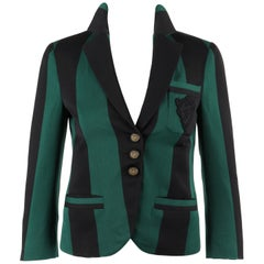 GUCCI S/S 2009 Green & Black Striped Wool Prep School Blazer Jacket