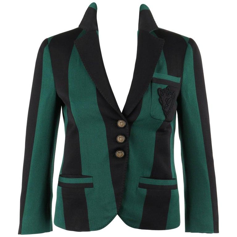 7c277bf2c GUCCI S/S 2009 Green & Black Striped Wool Prep School Blazer Jacket