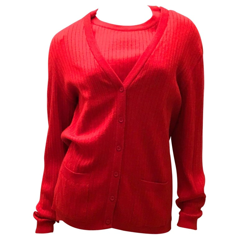 Rare Courreges Red Cardigan Sweater Set - 1970's