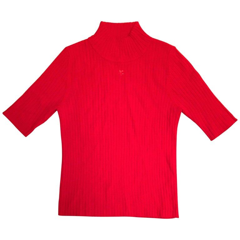 Courreges Red Short Sleeve Sweater For Sale at 1stdibs