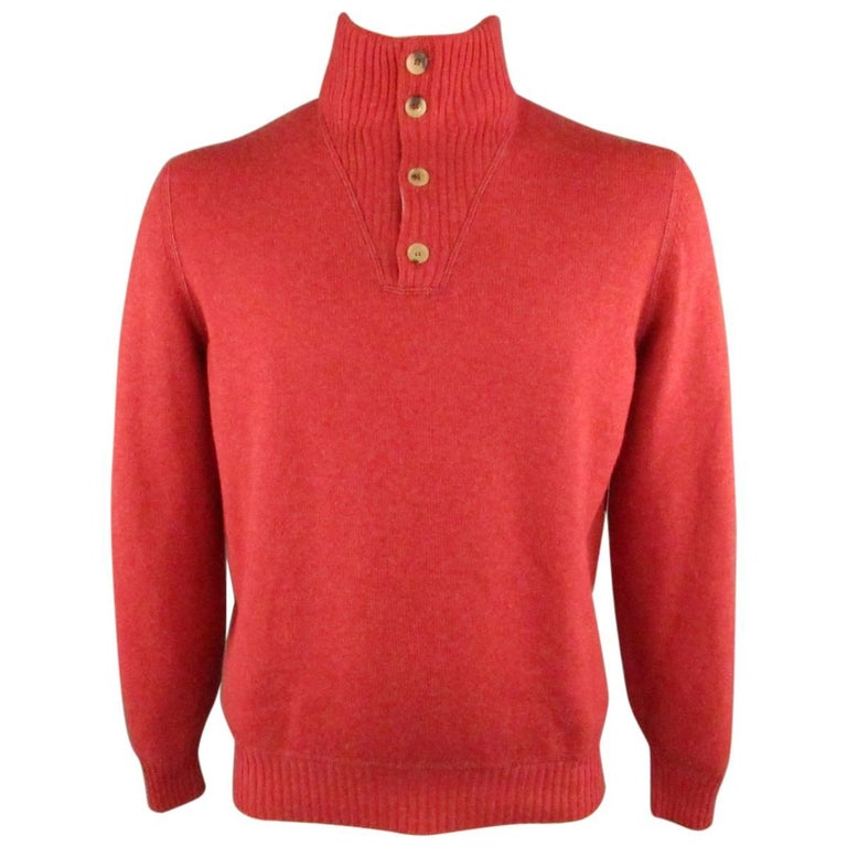 Men's BRUNELLO CUCINELLI L Red Knitted Cashmere Ribbed Button Collar Sweater