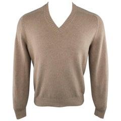 Men's BRUNELLO CUCINELLI Size S Beige Knitted Cashmere V Neck Sweater