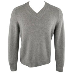 Men's BRUNELLO CUCINELLI Size XS Grey Knitted Cashmere V Neck Sweater