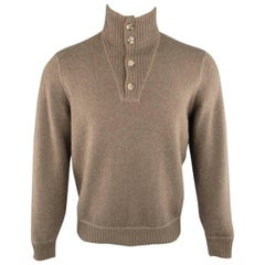 Men's BRUNELLO CUCINELLI S Brown & Gray Knitted Wool / Cashmere Sweater