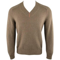 Men's BRUNELLO CUCINELLI Size XS Brown Knitted Cashmere V Neck Sweater