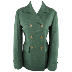 LUCIANO BARBERA Size 8 Green Speckle Wool Double Breasted Coat